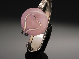 Bracelet Heart with Rose Quartz by A Fork in the Road