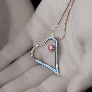 Heart with pink stone. A Fork in the Road.