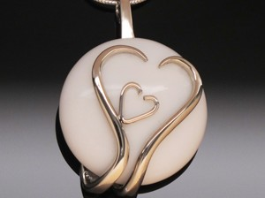 Pendant Two Hearts & White Cabochon by A Fork in the Road