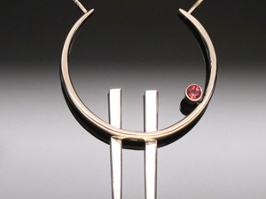 Pendant Fork Tines with Almondine Garnet by A Fork in the Road