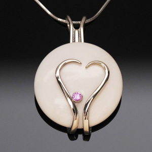 Pendant Heart Shape with White Cabochon & Pink Tourmaline Stone by A Fork in the Road