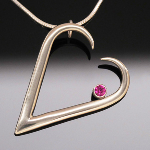 Pendant Heart with Red Ruby by A Fork in the Road