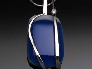 Pendant Blue White Glass with White CZ by A Fork in the Road