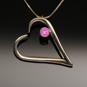 Pendant Heart Tines & Pink Tourmaline Stone by A Fork in the Road