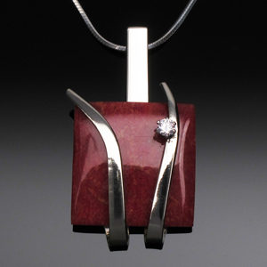 Pendant Square Red Coral with White CZ by A Fork in the Road