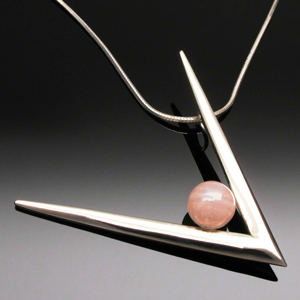 Pendant tines V rose quartz by A Fork in the Road